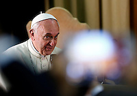 "Papa Francesco riceve in udienza i partecipanti all'Incontro Mondiale dei Dirigenti di Scholas Occurentes, nell'Aula del Sinodo, Citta' del Vaticano, 4 settembre 2014.<br /> Pope Francis meets participants in the ""Scholas Occurentes"" executives world meeting, at the Vatican, 4 September 2014.<br /> UPDATE IMAGES PRESS/Riccardo De Luca<br /> <br /> STRICTLY ONLY FOR EDITORIAL USE"