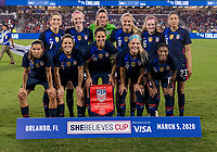 5th March 2020, Orlando, Florida, USA;  the United States starting 11 during the Women's SheBelieves Cup soccer match between the USA and England on March 5, 2020 at Exploria Stadium in Orlando, FL.