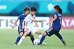 (L-R)   Rin Sumida (JPN), Ha Yhi Nhai (VIE),  Emi Nakajima (JPN), <br /> AUGUST 21, 2018 - Football / Soccer : <br /> Women's Group C match <br /> between Japan 7-0 Vietnam<br /> at Jakabaring Sport Center Gelora Sriwijaya <br /> during the 2018 Jakarta Palembang Asian Games <br /> in Palembang, Indonesia. <br /> (Photo by Yohei Osada/AFLO SPORT)