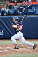 Niko Pacheco #27 of the Cal State Fullerton Titans bats against the Stanford Cardinal at Goodwin Field on February 19, 2017 in Fullerton, California. Stanford defeated Cal State Fullerton, 8-7. (Larry Goren/Four Seam Images)