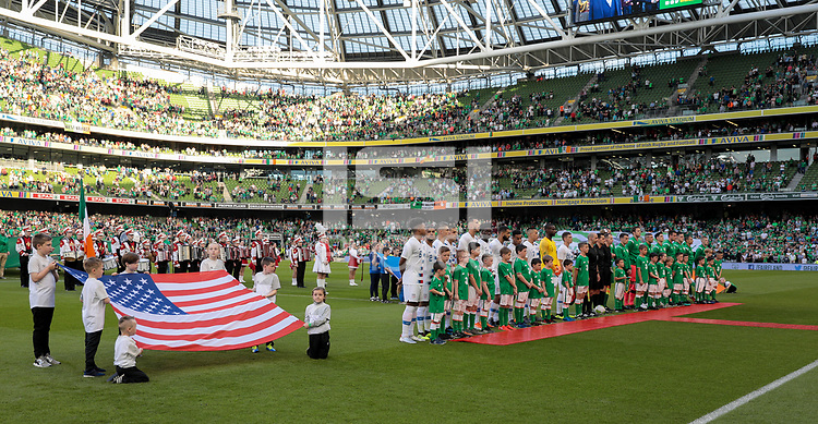 Dublin, Ireland - Saturday June 02, 2018: Starting eleven's of the men's national teams of USA and Ireland during an international friendly match between the men's national teams of the United States (USA) and Republic of Ireland (IRE) at Aviva Stadium.