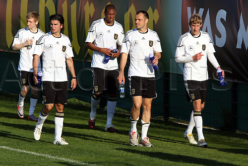 24/05/2010 2010 World Cup TRAINING CAMP GERMAN'S FOOTBALL TEAM - CORNAIANO - Italy. Germany's midfielder Marko Marin, Germany's defender Serdar Tasci, Germany's defender Jerome Boateng, Germany's defender Heiko Westermann, and Germany's striker Stefan Kiessling during a training match on 24/05/2010, 2010 in Cornaiano, Italy.