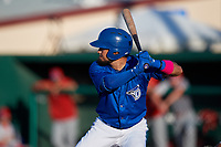Dunedin Blue Jays Norberto Obeso (5) at bat during a Florida State League game against the Clearwater Threshers on May 11, 2019 at Jack Russell Memorial Stadium in Clearwater, Florida.  Clearwater defeated Dunedin 9-3.  (Mike Janes/Four Seam Images)