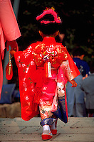 Little girl in red kimono on Shi-chi-go-san festival day,Okayama, Japan