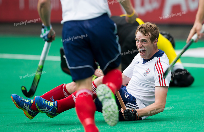 23/06/2015<br /> HWL Semi Final Antwerp Belgium 2015<br /> Ireland v Great Britain Men<br /> Chris Griffiths goals for Great Britain<br /> Photo: Grant Treeby