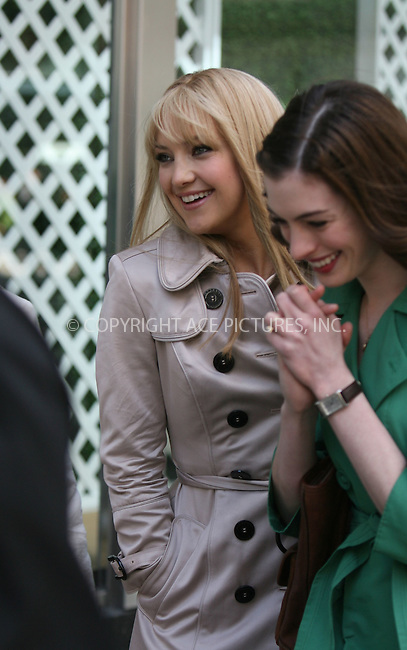WWW.ACEPIXS.COM ** ** ** ....May 28 2008, New York City....Actors Kate Hudson and Anne Hathaway on the set of the new movie 'Bride Wars' outside Bloomingdales department store in midtown Manhattan.......Please byline: Philip Vaughan -- ACEPIXS.COM.. *** ***  ..Ace Pictures, Inc:  ..tel: (646) 769 0430..e-mail: info@acepixs.com..web: http://www.acepixs.com