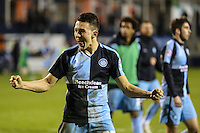 Luke O'Nien of Wycombe Wanderers shows his delight at the final whistle during the Sky Bet League 2 match between Luton Town and Wycombe Wanderers at Kenilworth Road, Luton, England on 26 December 2015. Photo by David Horn.