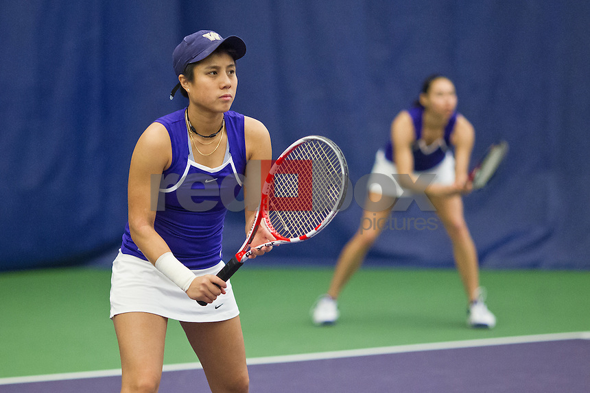 Samantha Smith, Denise Dy..--------Washington Huskies women's tennis team vs California Bears at the Nordstrom Tennis Center in Seattle on Friday, March 16, 2012. (Photo by Dan DeLong/Red Box Pictures)