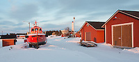 Winter still has its hold in early April at Marjaniemi Lighthouse, Hailuoto Island, near Oulu in northern Finland.