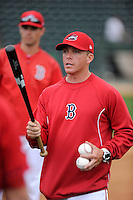 Manager Darren Fenster (3) of the Greenville Drive talks to his new team during a Media Day first workout of the season on Tuesday, April 7, 2015, at Fluor Field at the West End in Greenville, South Carolina. (Tom Priddy/Four Seam Images)