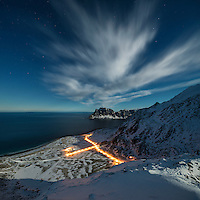 Winter view on moonlit night over Haukland beach from Mannen, Vestvågøy, Lofoten Islands, Norway