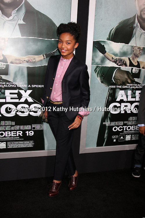 "LOS ANGELES - OCT 15:  Yara Shahidi arrives at the ""Alex Cross"" Premiere at ArcLight Cinemas Cinerama Dome on October 15, 2012 in Los Angeles, CA"