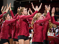 STANFORD, CA - November 2, 2018: Mackenzie Fidelak, Holly Campbell, Kate Formico at Maples Pavilion. No. 1 Stanford Cardinal defeated No. 15 Colorado Buffaloes 3-2.