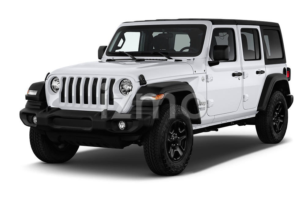 2020 Jeep Wrangler Unlimited Sport S 5 Door SUV angular front stock photos of front three quarter view
