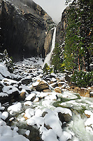 Nov. 2010 -Yosemite Valley, CA, U.S. - Rocks at the base of Lower Yosemite Falls are covered with snow following a November snow storm. Visitors at Yosemite Valley Thanksgiving week 2010 were greeted with a beautiful snow covered Winter Wonderland. (Photo by Alan Greth)