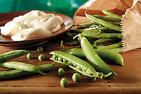 Fresh garden peas and bufallo mozzarella food photos