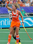 The Hague, Netherlands, June 09: Maartje Paumen #17 of The Netherlands reacts after scoring a penalty corner (3-0) during the field hockey group match (Women - Group A) between The Netherlands and Korea on June 9, 2014 during the World Cup 2014 at Kyocera Stadium in The Hague, Netherlands. Final score 3-0 (1-0)  (Photo by Dirk Markgraf / www.265-images.com) *** Local caption ***