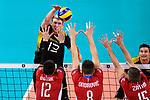 18.09.2019, Lotto Arena, Antwerpen<br />Volleyball, Europameisterschaft, Deutschland (GER) vs. Slowakei (SVK)<br /><br />Angriff Simon Hirsch (#13 GER) - Block  / Dreierblock Matej Patak (#12 SVK), Peter Ondrovic (#8 SVK), Juraj Zatko (#15 SVK)<br /><br />  Foto © nordphoto / Kurth