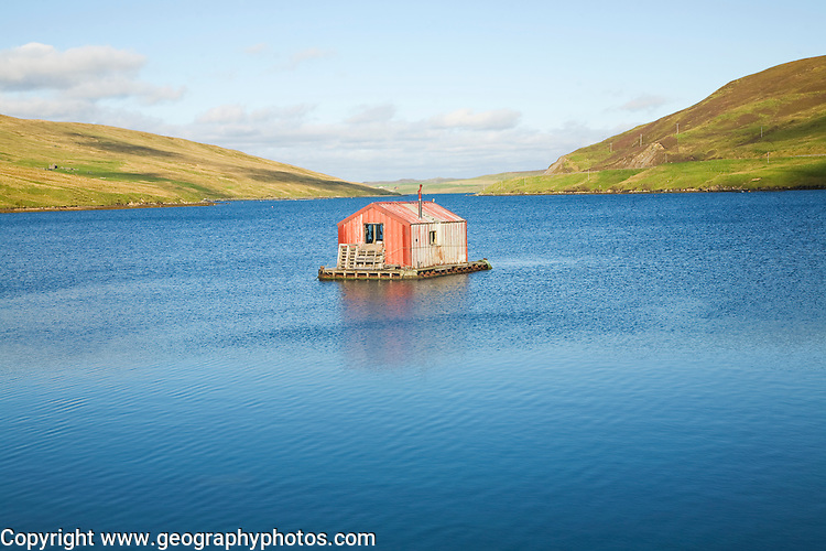 Fisherman's shed on small island, Olna Firth, Voe, Shetland Islands, Scotland