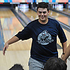 Dillon Ristano of Hewlett gets congratulated after rolling a strike in a Nassau County boys bowling match against Seaford at Baldwin Lanes on Monday, Dec. 18, 2017.