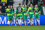 10.02.2019, Weser Stadion, Bremen, GER, 1.FBL, Werder Bremen vs FC Augsburg, <br /> <br /> DFL REGULATIONS PROHIBIT ANY USE OF PHOTOGRAPHS AS IMAGE SEQUENCES AND/OR QUASI-VIDEO.<br /> <br />  im Bild<br /> <br /> jubel 2:0 Johannes Eggestein (Werder Bremen #24) Philipp Bargfrede (Werder Bremen #44)<br /> Max Kruse (Werder Bremen #10)<br /> Niklas Moisander (Werder Bremen #18)<br /> <br /> Foto © nordphoto / Kokenge