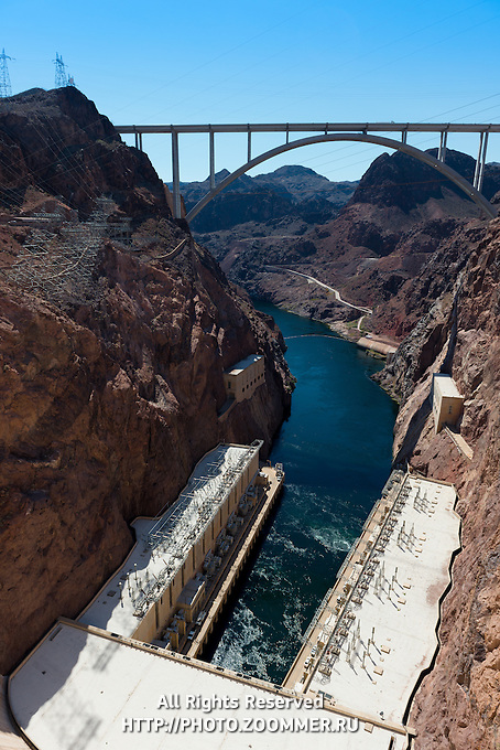 Hoover Dam Bridge And Colorado River, Nevada, Arizona, USA