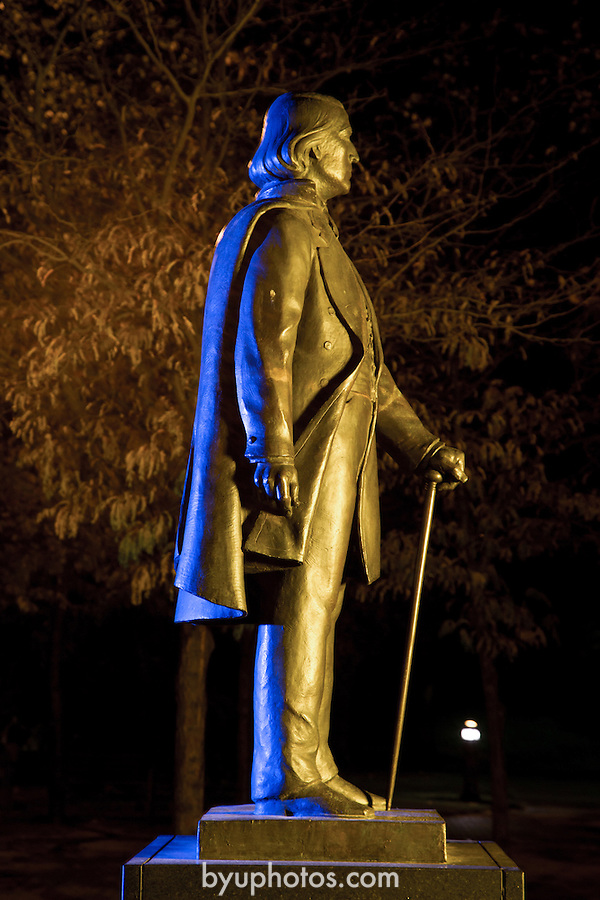 1210-42 28.CR2<br /> <br /> GCS BY Brigham Young statue at night with Y lit during homecoming week.<br /> <br /> October 10, 2012<br /> <br /> Photography by Mark A. Philbrick<br /> <br /> Copyright BYU Photo 2012<br /> All Rights Reserved<br /> photo@byu.edu  (801)422-7322