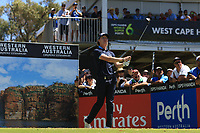 Sean Crocker (USA) in action on the 5th during the Matchplay rounds of the ISPS Handa World Super 6 Perth at Lake Karrinyup Country Club on the Sunday 11th February 2018.<br /> Picture:  Thos Caffrey / www.golffile.ie<br /> <br /> All photo usage must carry mandatory copyright credit (&copy; Golffile | Thos Caffrey)
