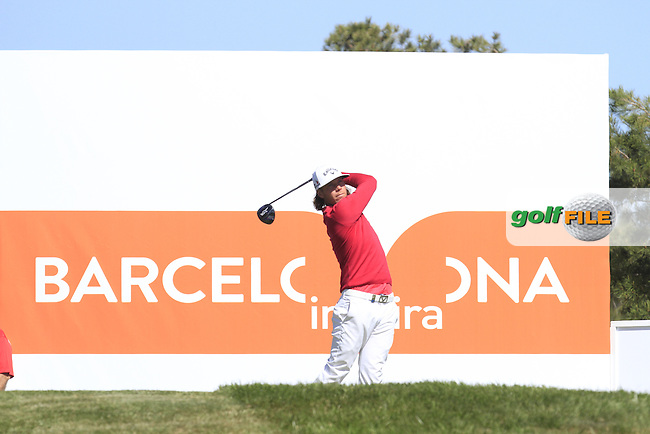 Kristoffer Broberg (SWE) on the 5th tee during Round 2 of the Open de Espana  in Club de Golf el Prat, Barcelona on Friday 15th May 2015.<br /> Picture:  Thos Caffrey / www.golffile.ie