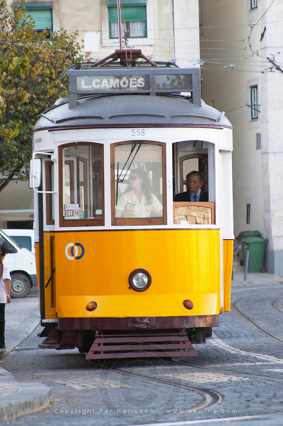 tram alfama district lisbon portugal