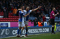 Blackburn Rovers' Adam Armstrong celebrates scoring his side's equalising goal to make the score 2-2 with team-mate Elliott Bennett<br /> <br /> Photographer Stephen White/CameraSport<br /> <br /> The EFL Sky Bet League One - Blackburn Rovers v Oldham Athletic - Saturday 10th February 2018 - Ewood Park - Blackburn<br /> <br /> World Copyright &copy; 2018 CameraSport. All rights reserved. 43 Linden Ave. Countesthorpe. Leicester. England. LE8 5PG - Tel: +44 (0) 116 277 4147 - admin@camerasport.com - www.camerasport.com