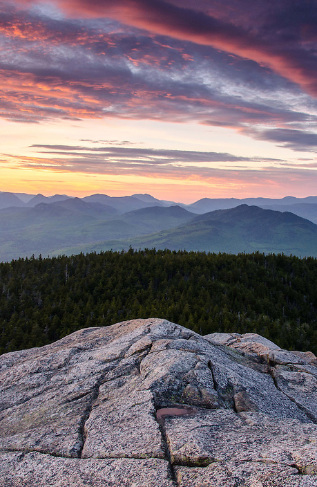 Watching the day end from a ledgy outlook on a White Mountain peak.