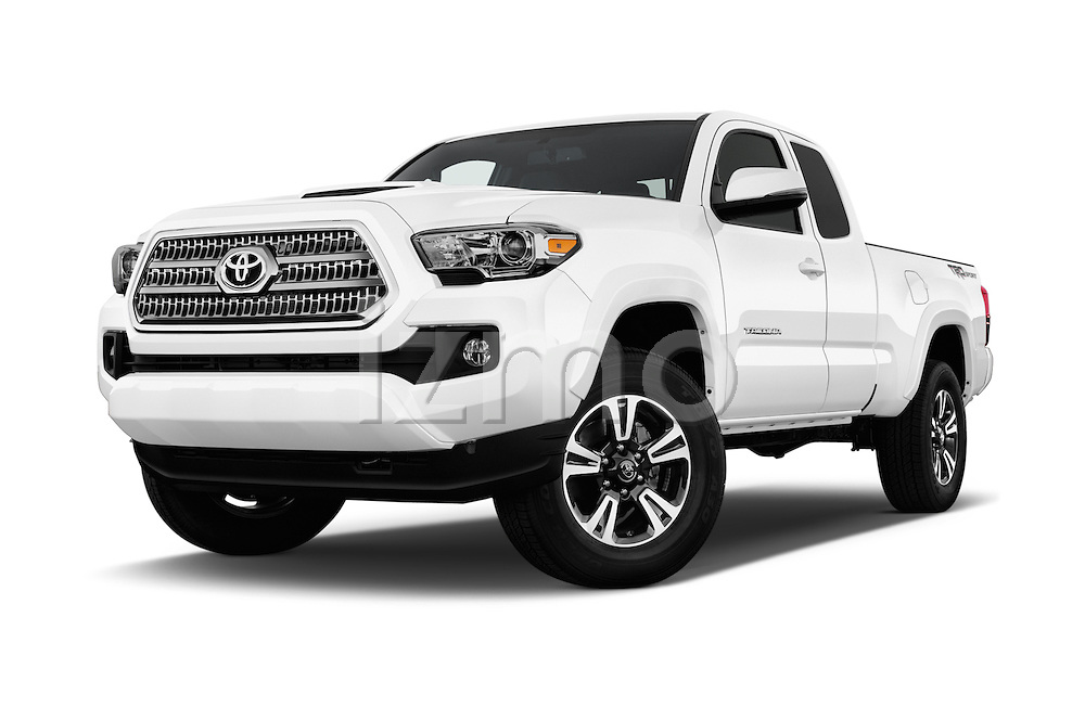 Stock pictures of low aggressive front three quarter view of 2017 Toyota Tacoma TRD Sport 4 Door Pick Up Low Aggressive