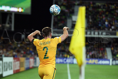 01.09.2016. nib Stadium, Perth, Australia. World Cup Football Qualifier. Australia versus Iraq. Milos Degenek throws the ball into play during the second half.