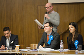 Phillip Taylor, Conservative.  Hustings with Conservative, Labour, Liberal Democrats and Green local election candidates for 2 of the 18 council wards, Camden, London. Alex Kaaye (L), David Brescia (C) Sedef Akademir (R)