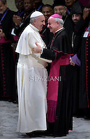 Pope Francis Monsignor Vincenzo Paglia during his weekly general audience at the Paul VI hall at the Vatican, Wednesday. February 4, 2015