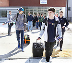 OXFORD CT. 11 March 2018-031219SV04-From left, Thomas Romeo, 17, and Jack Fairhurst, 17, leave for Abu Dhabi with their principal Dorothy Potter at Oxford High School in Oxford Tuesday. The two are members of the schools Unified Sports team to take part in a global youth summit at the Special Olympics. <br /> Steven Valenti Republican-American