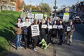Demonstration organised by The Coalition for a Sustainable Brent Cross Cricklewood Development, inprotest at plans to build on the Cricklewood Green Space outside the B&Q store on Cricklewood Lane.