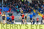Johnny Buckley Dr Crokes rises over Seanie O'Shea Kenmare Shamrocks  and Gavin White to claim the ball during their SFC QF in Fitzgerald Stadium on Sunday