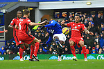 Romelu Lukaku of Everton watches a shot go high over the bar - Everton vs. Leicester City - Barclay's Premier League - Goodison Park - Liverpool - 22/02/2015 Pic Philip Oldham/Sportimage