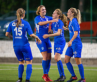 20190823 - OUD HEVERLEE BELGIUM : KRC Genk's Jarne Teulings  pictured celebrating her goal with Nikki Janssen (left) and Eleen Kimps (right) during the female soccer game between the OHL Ladies vs KRC Genk Ladies, the first game for both teams in the Belgian Women's Super League , Friday 23rd  August 2019 at the OHL Jeugdcomplex , Belgium . PHOTO SPORTPIX.BE | SEVIL OKTEM