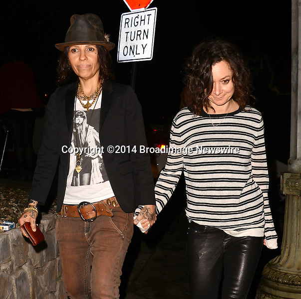 Pictured: Linda Perry, Sara Gilbert<br /> Mandatory Credit: Luiz Martinez / Broadimage<br /> Annie Leibovitz Book Launch - Outside Arrivals<br /> <br /> 2/26/14, West Hollywood, California, United States of America<br /> Reference: 022614_LMLA_BDG_108<br /> <br /> sales@broadimage.com<br /> Bus: (310) 301-1027<br /> Fax: (646) 827-9134<br /> http://www.broadimage.com