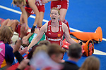 ENG - London, England, August 30: Helen RICHARDSON-WALSH #8 of England celebrates after winning the women Gold Medal Match between England (red) and The Netherlands (white) on August 30, 2015 at Lee Valley Hockey and Tennis Centre, Queen Elizabeth Olympic Park in London, England. Final score 2-2 (3-1 SO). (Photo by Dirk Markgraf / www.265-images.com) *** Local caption ***