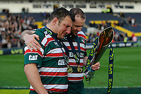 Geordan Murphy of Leicester Tigers (right) consoles an emotional Julian White at the end of the LV= Cup Final match between Leicester Tigers and Northampton Saints at Sixways Stadium, Worcester on Sunday 18 March 2012 (Photo by Rob Munro, Fotosports International)