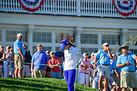 Hye-Jin Choi (a)(KOR) reacts to hitting her tee shot on 16 into the lake during Sunday's final round of the 72nd U.S. Women's Open Championship, at Trump National Golf Club, Bedminster, New Jersey. 7/16/2017.<br /> Picture: Golffile | Ken Murray<br /> <br /> <br /> All photo usage must carry mandatory copyright credit (&copy; Golffile | Ken Murray)