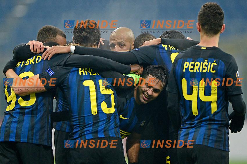 Esultanza gol di Eder Inter 2-1. Celebration goal<br /> Milano 8-12-2016 Stadio Giuseppe Meazza - Football Calcio Europa League Inter - Sparta Praga. Foto Giuseppe Celeste / Insidefoto
