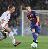 3.04.2012 Barcelona, Spain. UEFA Champions League , Quarter finals 2nd leg,       picture show  Andres Iniesta in action  during match between FC Barcelona against AC MIlan AT Camp Nou