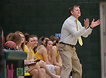 SPEARFISH, SD: NOVEMBER 11:  Black Hills State head women's basketball coach Mark Nore reacts to a score by his team against Texas A&M Kingsville during their game Saturday at the Donald E. Young Center in Spearfish, S.D.   (Photo by Dick Carlson/Inertia)