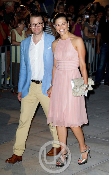 Crown Princess Victoria of Sweden, and Prince Daniel attend a Cocktail Party at The Poseidonion Hotel, in Spetses, Greece, on the eve of the Wedding of Prince Nikolaos of Greece to Tatiana Blatnik.