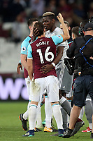 Paul Pogba of Manchester United and Mark Noble of West Ham United after West Ham United vs Manchester United, Premier League Football at The London Stadium on 10th May 2018